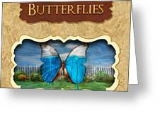 Butterflies Button Greeting Card by Mike Savad