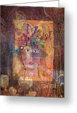 Butterflies In Her Hair Greeting Card by Arline Wagner