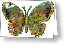 Butterfly Meadow Green Greeting Card by Alixandra Mullins