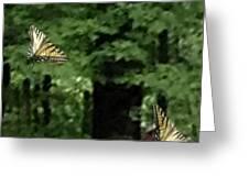 Butterfly Waltz Greeting Card by Debra     Vatalaro