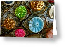 Button Biographies Greeting Card by Gwyn Newcombe