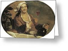 Buveur De Vin Greeting Card by Etinne Jeaurat