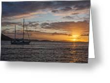 Bvi Sunset Greeting Card by Adam Romanowicz