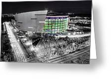 Bw Of American Airline Arena Greeting Card by Joe Myeress