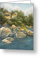 By The River Greeting Card by Lucie Bilodeau