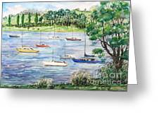 By The River Greeting Card by Phong Trinh