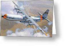 C-133 Cargomaster Over Travis Greeting Card by Stu Shepherd