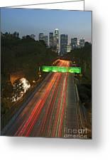 Ca 110 Pasadena Freeway Downtown Los Angeles At Night With Car Lights Streaking_2 Greeting Card by David Zanzinger
