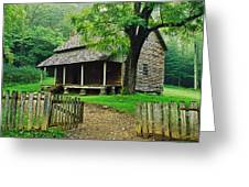 Cabin In The Mountains Greeting Card by David Davis