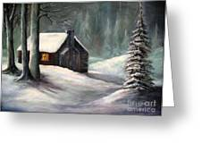 Cabin In The Woods Greeting Card by Hazel Holland