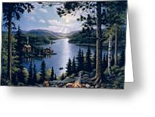 Cabin in the Woods Greeting Card by John Zaccheo