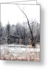 Cabin In The Woods Greeting Card by Julie Palencia