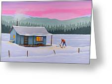 Cabin On A Frozen Lake Greeting Card by Gary Giacomelli