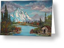 Cabin On The Lake Greeting Card by Bob Williams