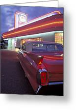 Caddy At Diner Greeting Card by Christian Heeb