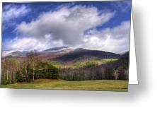 Cades Cove First Dusting Of Snow Greeting Card by Debra and Dave Vanderlaan