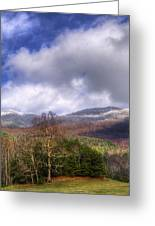 Cades Cove First Dusting Of Snow II Greeting Card by Debra and Dave Vanderlaan