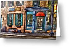 Cafe - Cafe America Greeting Card by Mike Savad