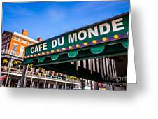 Cafe Du Monde Picture In New Orleans Louisiana Greeting Card by Paul Velgos