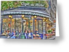 Cafe Flore In Summer Greeting Card by Matthew Bamberg