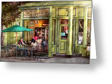 Cafe - Hoboken Nj - Empire Coffee And Tea Greeting Card by Mike Savad