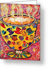 Cafe Latte - Coffee Cup With Colorful Coffee Cups Some Pink And Bubbles Greeting Card by Ana Maria Edulescu