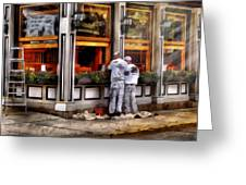 Cafe - The Painters Greeting Card by Mike Savad
