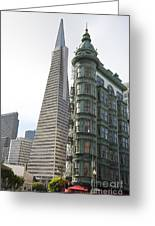 Cafe Zoetrope And Transamerica Bldg Greeting Card by David Bearden