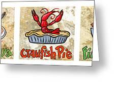 Cajun Food Trio White Border Greeting Card by Elaine Hodges