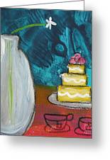 Cake And Tea For Two Greeting Card by Linda Woods
