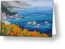 California Poppies Big Sur Greeting Card by Karin  Leonard