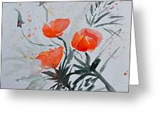 California Poppies Sumi-e Greeting Card by Beverley Harper Tinsley