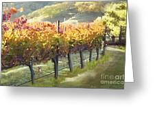 California Vineyard Series Morning In The Vineyard Greeting Card by Artist and Photographer Laura Wrede