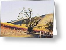 California Vineyard Series Oaks in the Vineyard Greeting Card by Artist and Photographer Laura Wrede