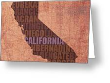 California Word Art State Map On Canvas Greeting Card by Design Turnpike