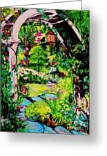 Camille's Secret Cottage Garden  Greeting Card by Helena Bebirian