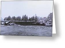 Canada Island And Spokane River Greeting Card by Daniel Hagerman