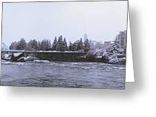 Canada Island And Spokane River Greeting Card by Daniel Hagerman