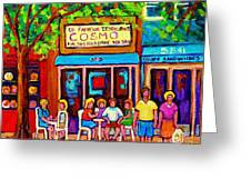 Canadian Artists Montreal Paintings Cosmos Restaurant Sherbrooke Street West Sidewalk Cafe Scene Greeting Card by Carole Spandau