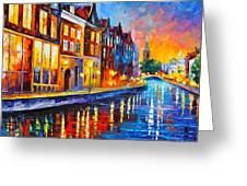 Canal In Amsterdam Greeting Card by Leonid Afremov