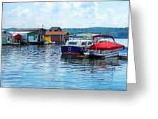 Canandaigua Fishing Shacks Greeting Card by Susan Savad