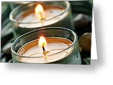 Candles on green Greeting Card by Elena Elisseeva