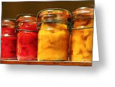 Canning Jars Of Tomatoes And Peaches Greeting Card by Susan Savad
