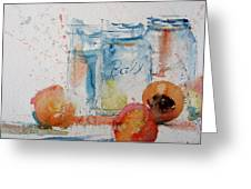 Canning Peaches Greeting Card by Sandra Strohschein