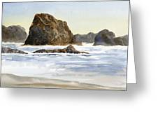 Cannon Beach Rocks With Waves Greeting Card by Sharon Freeman