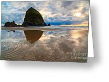 Cannon Beach With Storm Clouds In Oregon Coast Greeting Card by Jamie Pham