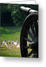 Cannon Memorial With American Flags Greeting Card by Amy Cicconi