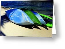 Canoe Shadows Greeting Card by Karen Wiles