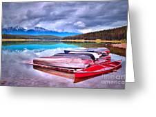 Canoes At Lake Patricia Greeting Card by Tara Turner