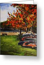 Canoes By The Lake Greeting Card by Andrea Flint Lapins